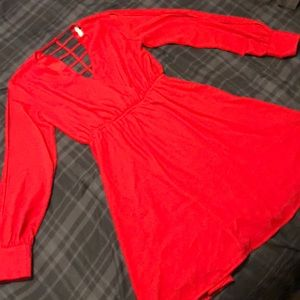 Red dress with back and sleeve cutouts